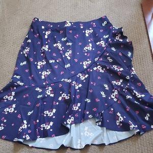 Purple ruffle hi-lo skirt